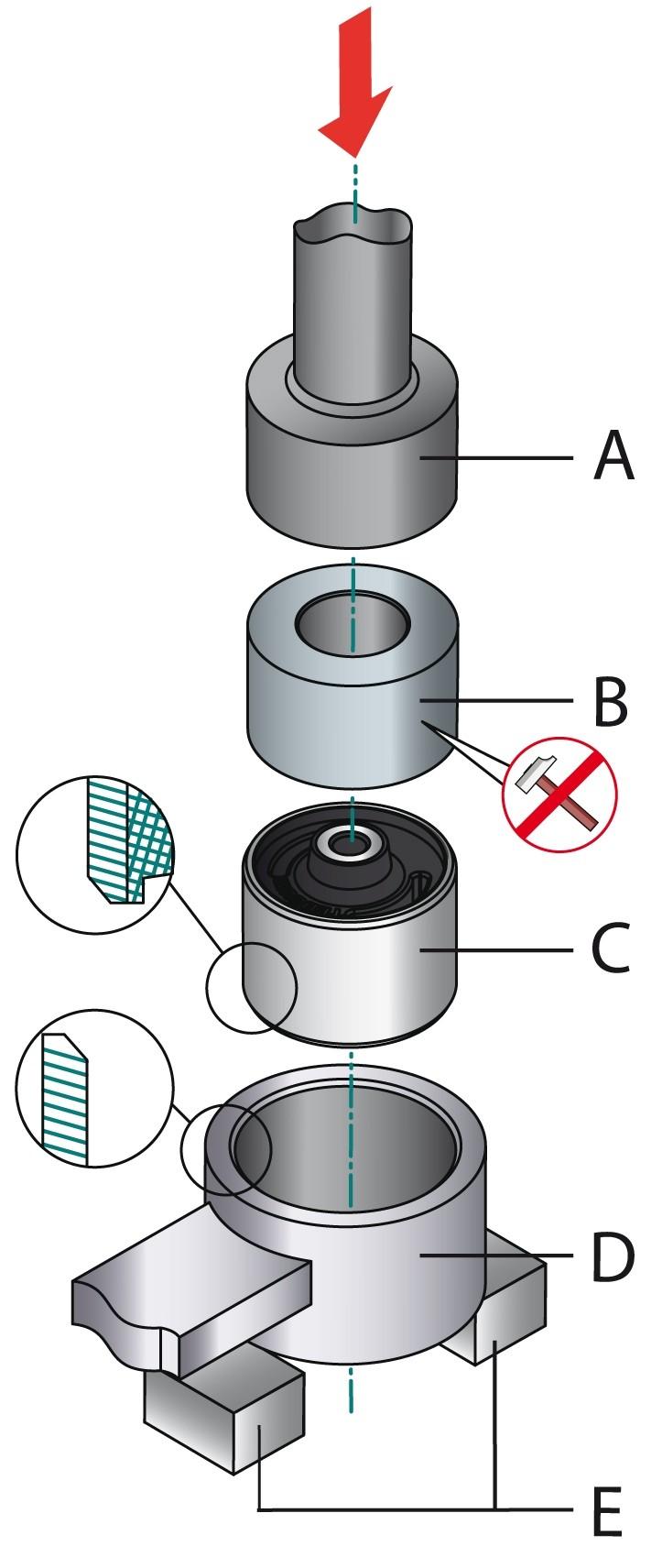 obraz montaż tulei metal-guma-metal 1