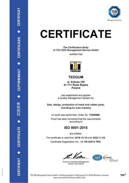 TEDGUM ISO 9001:2015 certificate