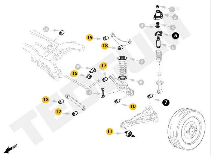 Schemat tylnego zawieszenia Mitsubishi Outlander 2006-2012